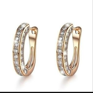 NEW Luxury 925 Silver Diamond oval Huggie Earrings